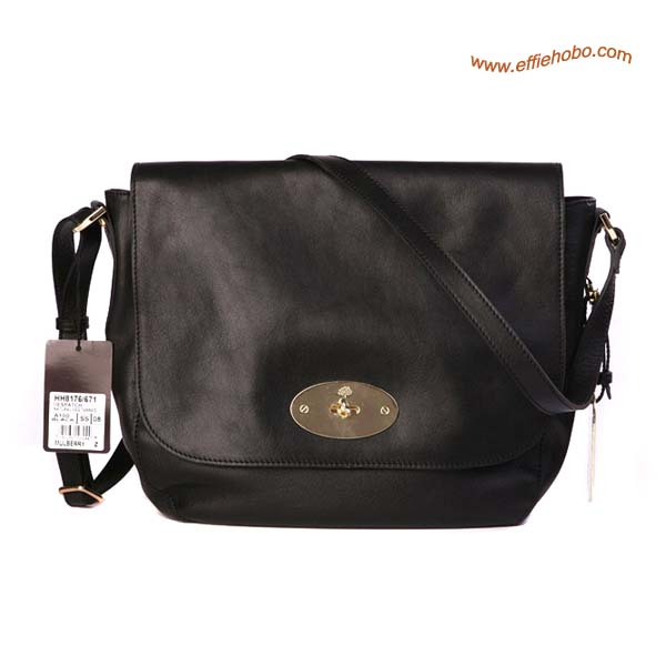 Mulberry Postman's Lock Hobo Shoulder Bag Black