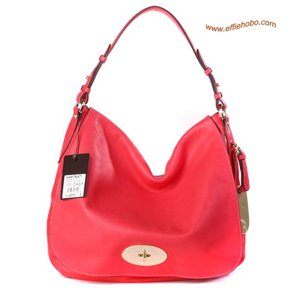 Mulberry Postman's Lock Hobo Bag Red
