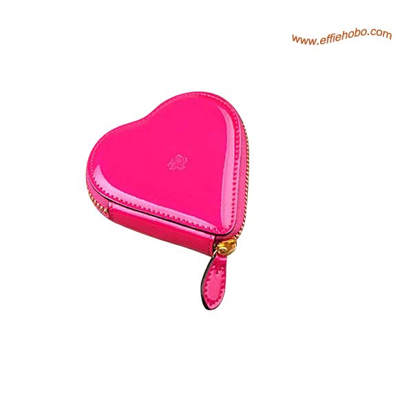 Mulberry Heart-shaped Patent Leather Coin Purse Pink