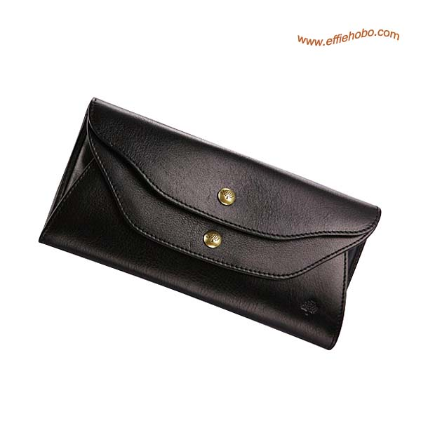 Mulberry Slim Popper Closure Purse Black