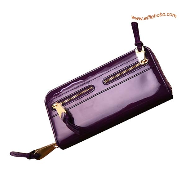 Mulberry Somerset Zip Around Patent Leather Purse Purple