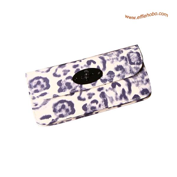 Mulberry Long Locked Purse Leopard Print in White