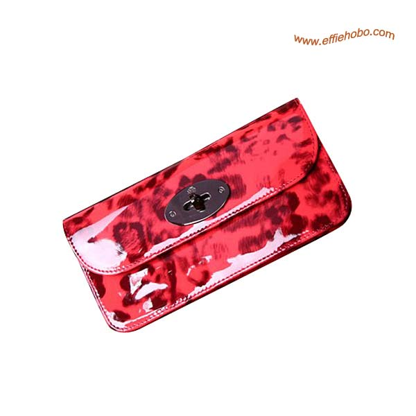 Mulberry Long Locked Purse Leopard Print in Red
