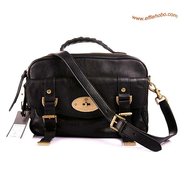 Mulberry Postman's Lock Camera Leather Satchel Bag Black Leather