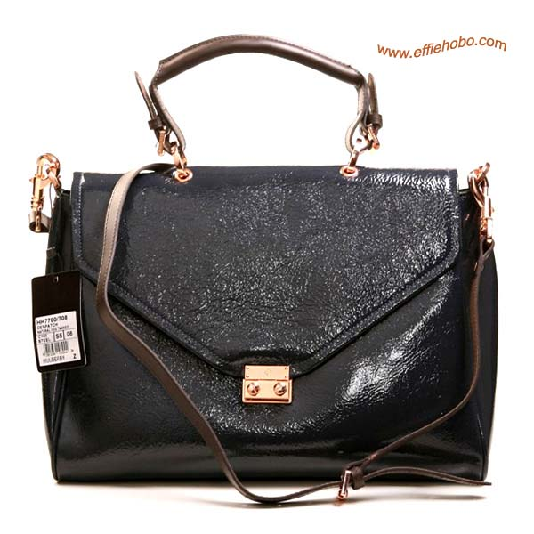 Mulberry Neely Patent Leather Satchel Bag Dark Gray
