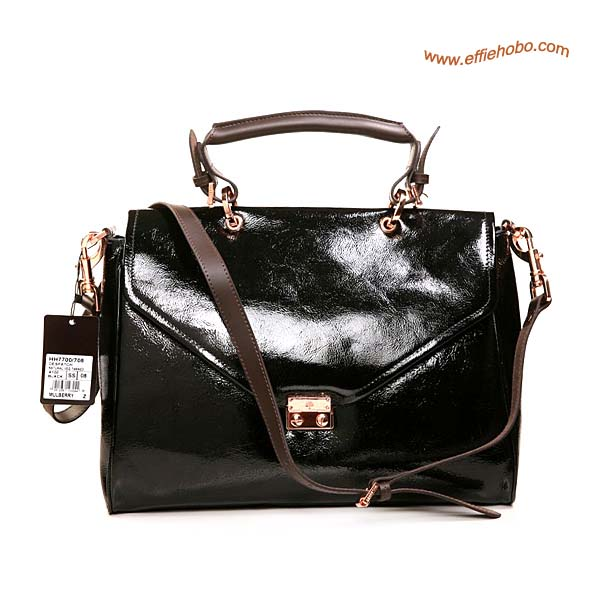 Mulberry Neely Patent Leather Satchel Bag Black