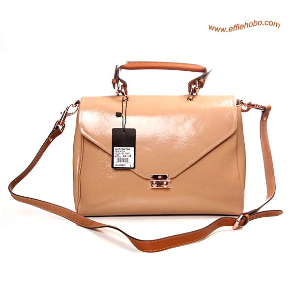 Mulberry Neely Patent Leather Satchel Bag Apricot
