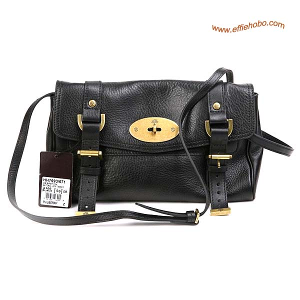 Mulberry Medium Alexa Leather Satchel Bag Black