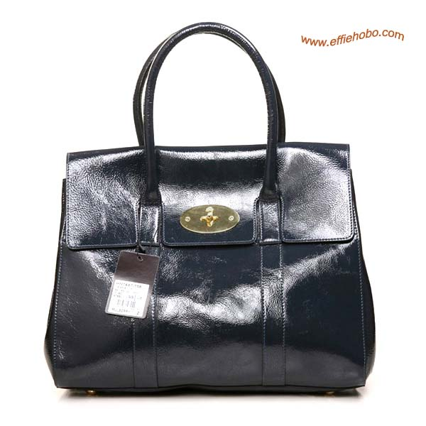 Mulberry Bayswater Shining Leather Bag Dark Gray
