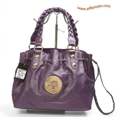 Mulberry Daria Drawstring Leather Tote Bag Purple
