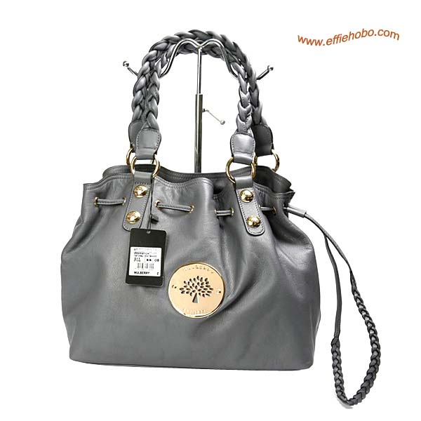 Mulberry Daria Drawstring Leather Tote Bag Gray