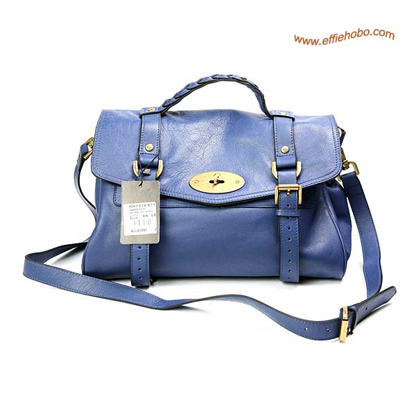 Mulberry Oversized Alexa Leather Satchel Bag Blue