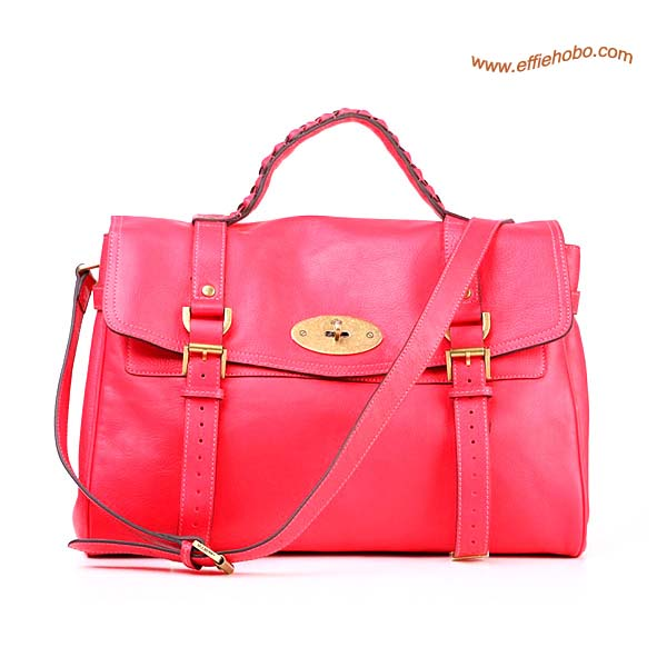 Mulberry Mini Alexa Leather Satchel Bag Red