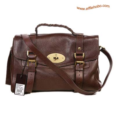 Mulberry Mini Alexa Leather Satchel Bag Brown