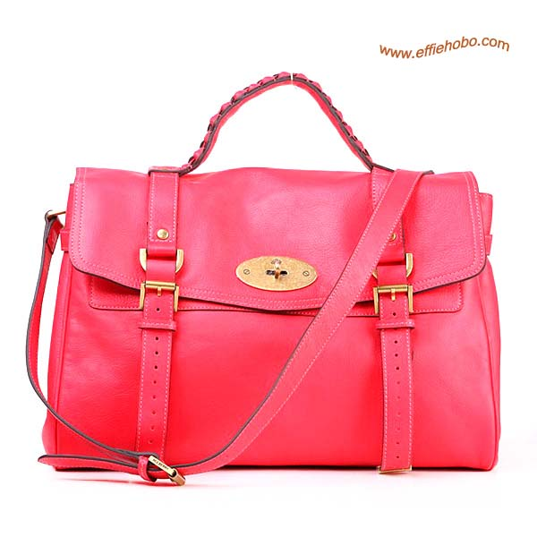 Mulberry Standard Alexa Leather Satchel Bag Red