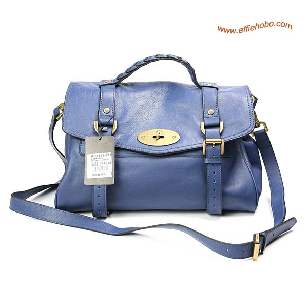 Mulberry Standard Alexa Leather Satchel Bag Blue