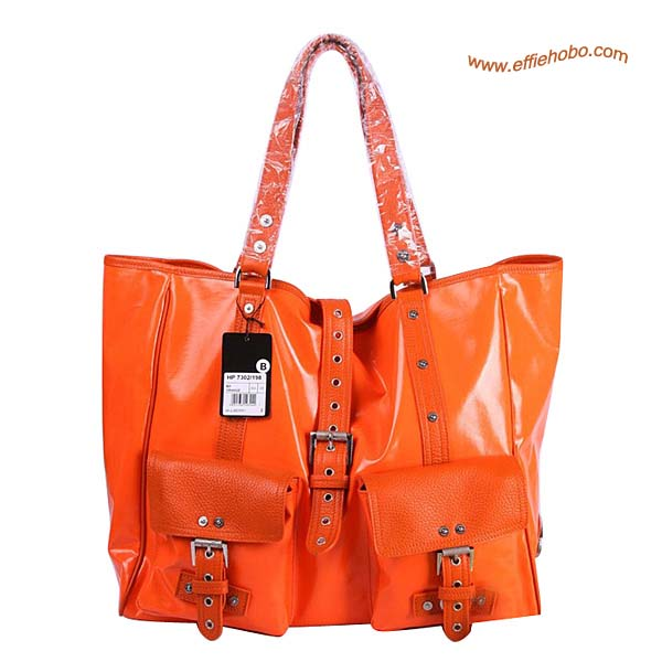 Mulberry Holdall Roxanne Patent Leather Tote Bag Orange