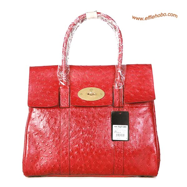 Mulberry Bayswater Leather Ostrich Shoulder Bag Red