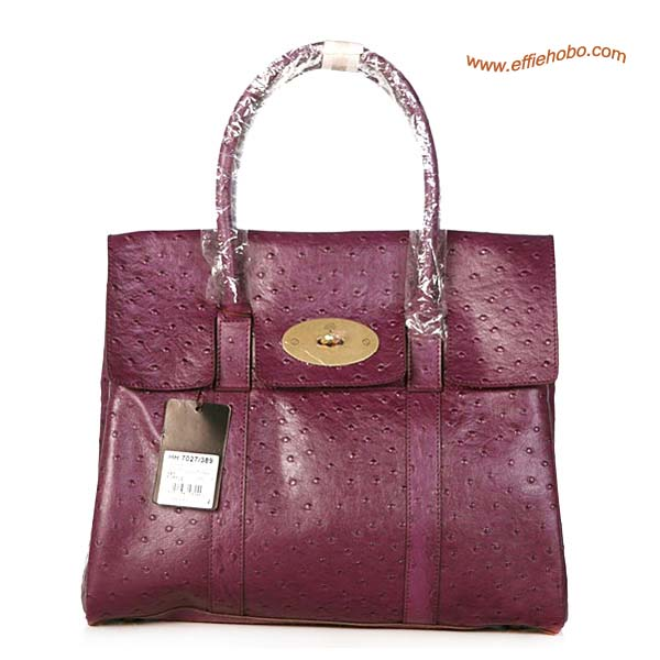Mulberry Bayswater Leather Ostrich Shoulder Bag Purple