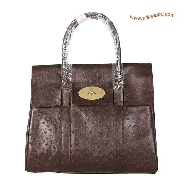 Mulberry Bayswater Leather Ostrich Shoulder Bag Brown