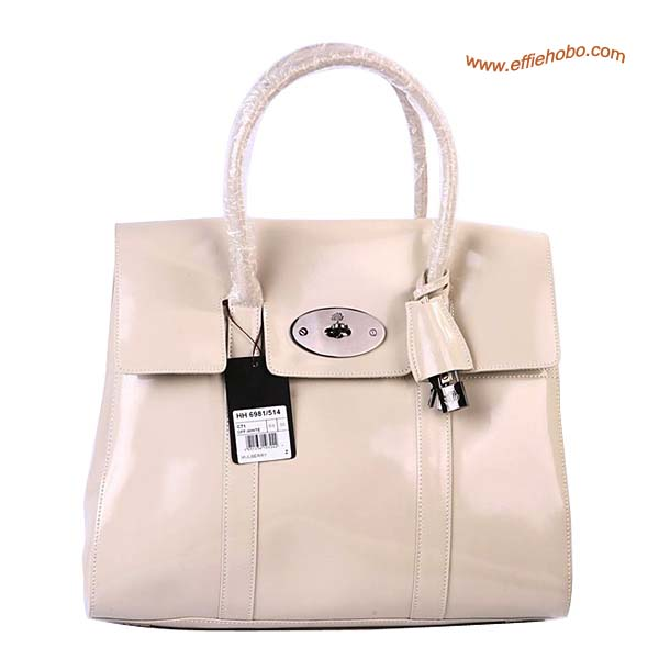 Mulberry Standard Bayswater Patent Shoulder Bag White