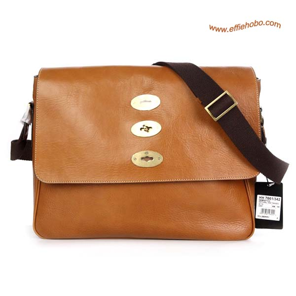 Mulberry Men's Brynmore For Macbook Pro Leather Messenger Bag Oak