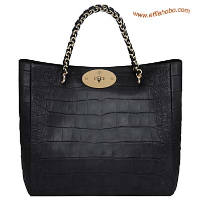 Mulberry Cecily Tote Bag Black Soft Croc Print Leather