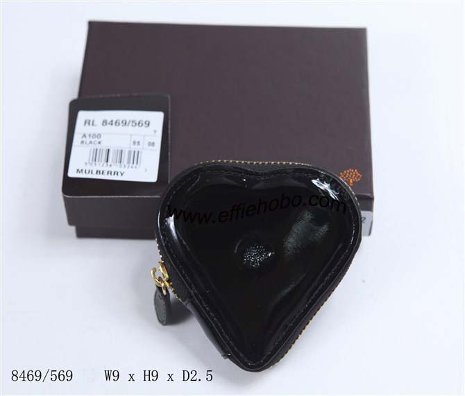 Mulberry Heart-shaped Patent Leather Coin Purse Black