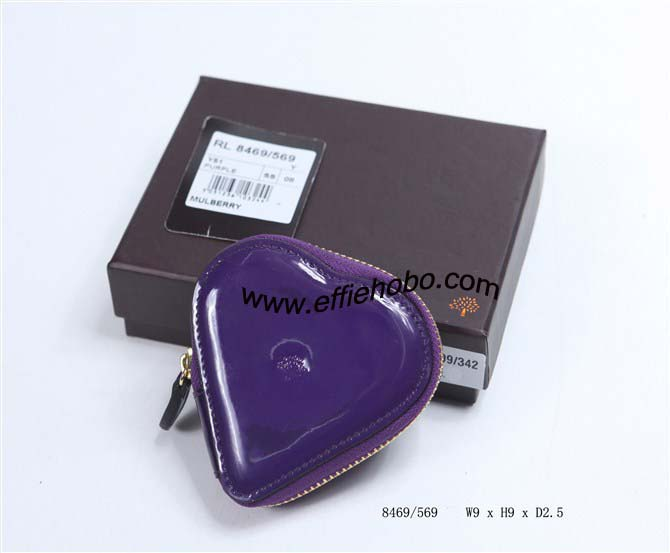 Mulberry Heart-shaped Patent Leather Coin Purse Purple