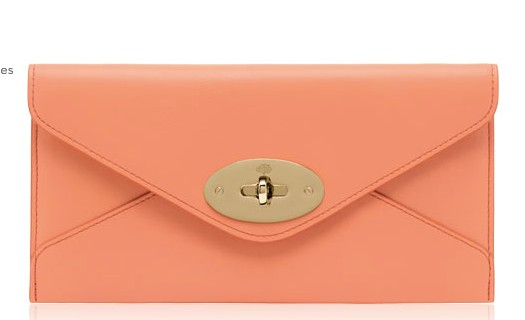 Mulberry Envelope Wallet Bright Apricot Classic Calf Leather