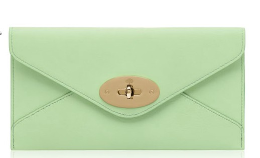 Mulberry Envelope Wallet Mint Classic Calf Leather