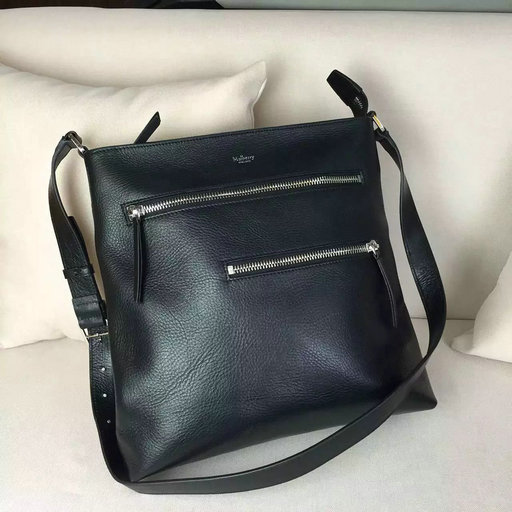 2016 F/W Mulberry Mens Top Zip Messenger Bag in Black Leather