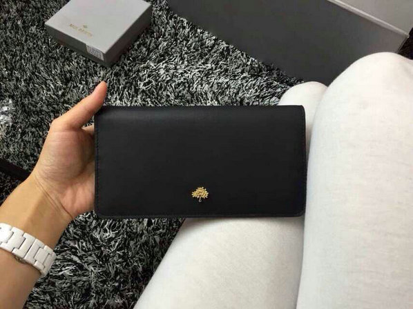 2015 Cheap Mulberry Tree Slim Long Wallet in Black Lamb Nappa