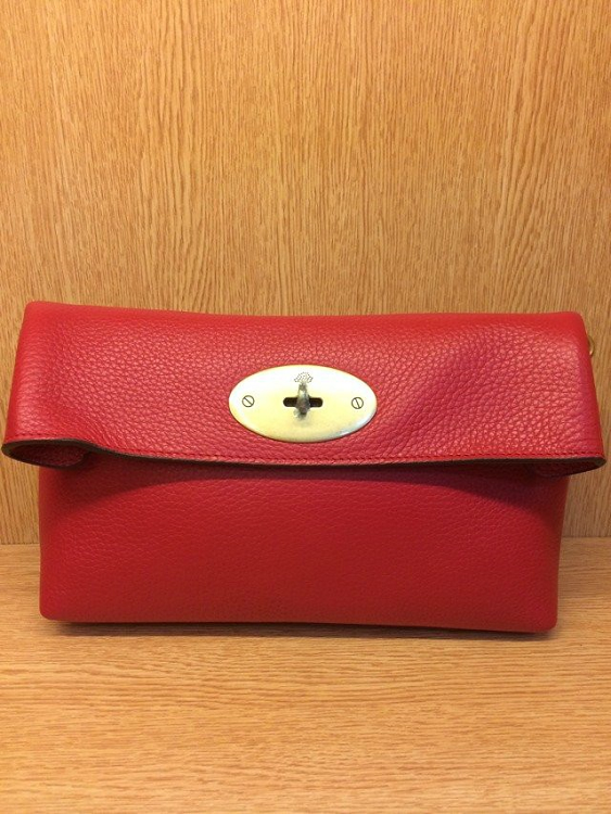 Mulberry Oversized Clemmie Clutch in Red Leather