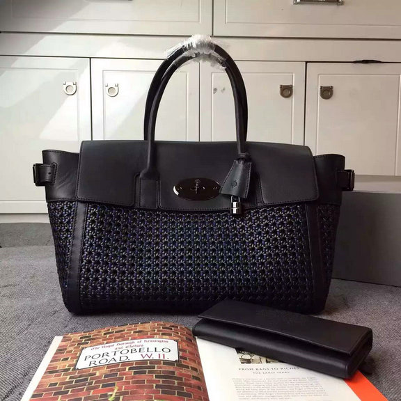 2015 Cheap Mulberry Bayswater Buckle Bag Midnight Blue & Black Woven Leather & Flat Calf