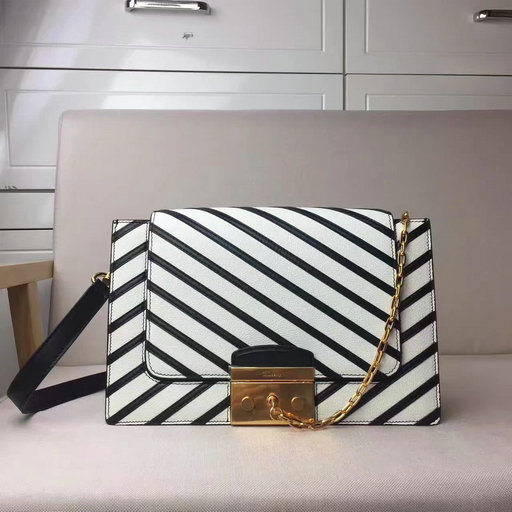 2017 Mulberry Pembroke Satchel in Black & White Smooth Calf & Shiny Lamb