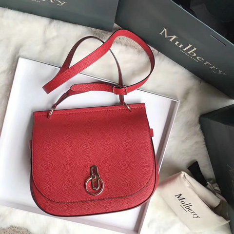 2018 Latest Mulberry Amberley Satchel Red Small Classic Grain