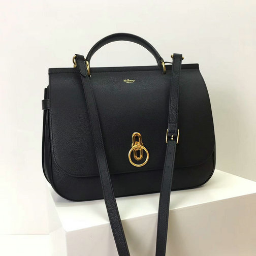 2017 Latest Mulberry Large Amberley Satchel Black Small Classic Grain