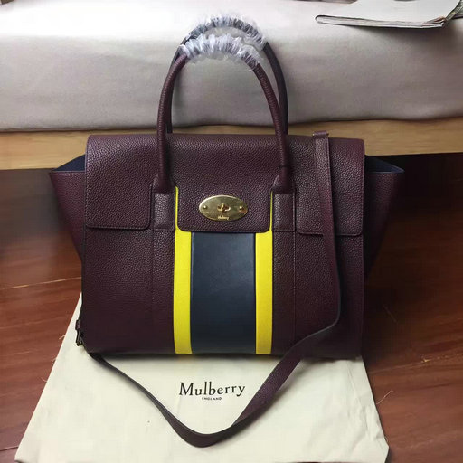 2017 Summer Mulberry Bayswater with Strap Oxblood,Sunflower & Midnight Small Classic Grain