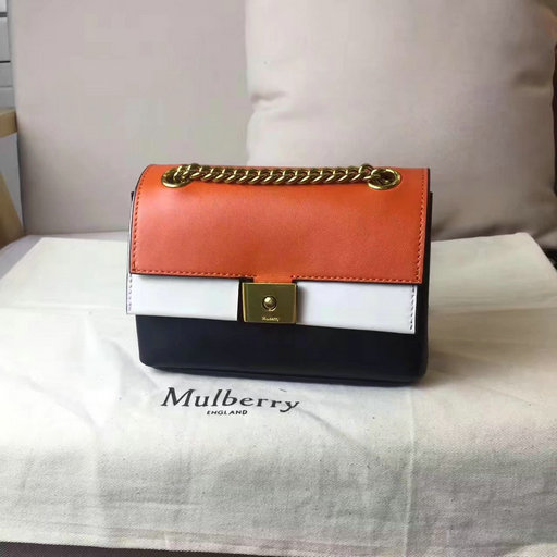 2017 Summer Mulberry Mini Cheyne Bag Bright Orange,Chalk & Black Smooth Calf