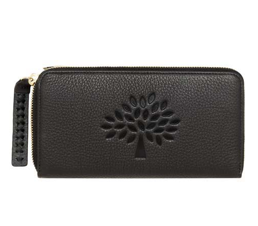 Mulberry Effie Zip Around Purse in Black Spongy Pebbled Leather