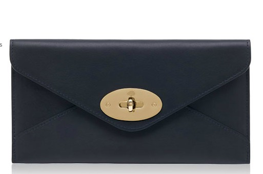 Free Gift for order amount over 260GBP-Mulberry Envelope Wallet Navy Leather