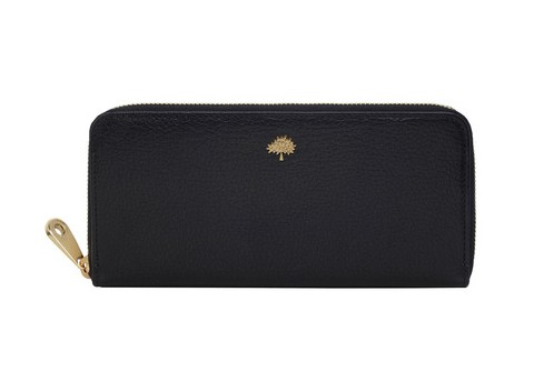 Free Gift for order amount over 250GBP-Mulberry Tree Zip Around Wallet in Black Glossy Goat Leather
