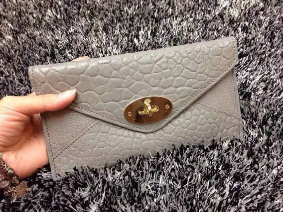 Mulberry Envelope Wallet in Grey Shrunken Calf