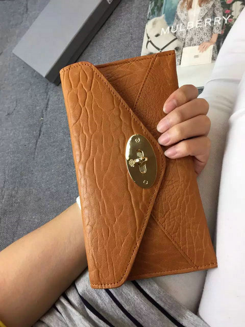 Mulberry Envelope Wallet in Oak Shrunken Calf