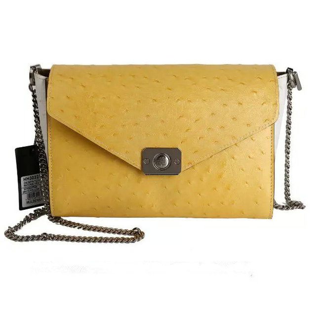 2015 Autumn/Winter Mulberry Delphie Bag Camomile & White Ostrich Leather
