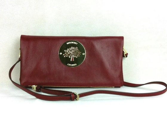 Classic Mulberry Daria Leather Clutch Oxblood with wrist & shoulder strap