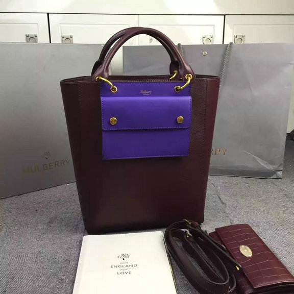 2016 A/W Mulberry Maple Tote Bag Burgundy Printed Goat Leather