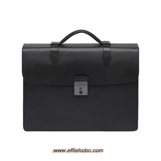 Mulberry Double Briefcase Black Classic Printed Calf
