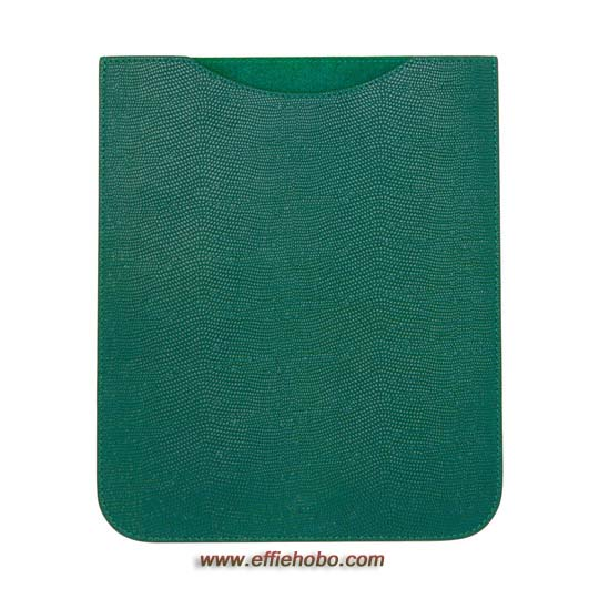 Mulberry Simple iPad Sleeve Emerald Textured Lizard Print